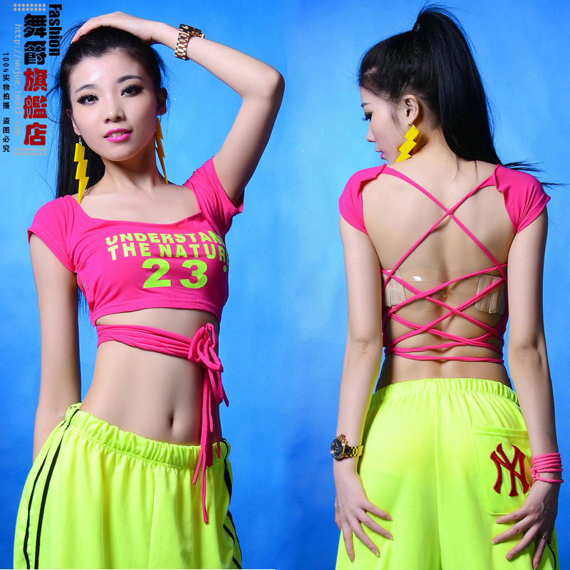 2014 New Fashion Jazz harem ds women clothing hip hop top dance costume Hollow Sexy performance wear female t-shirt - Hiphop Dance's Club store