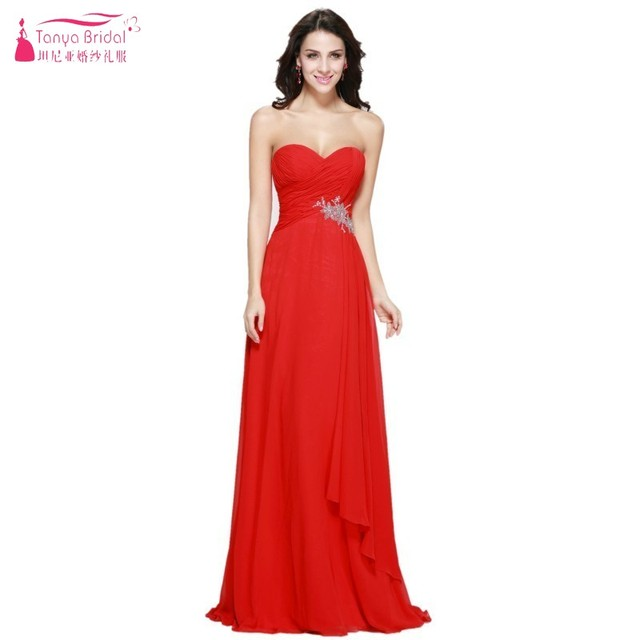 A Line Sweetheart Long Chiffon Red Prom Dresses Empire Custom made ...