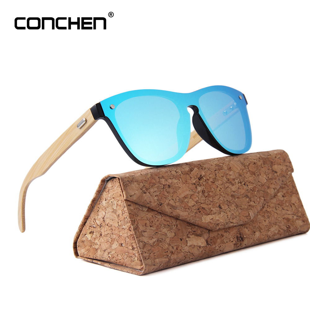 CONCHEN Wooden Sunglasses For Women Fashion Brand Designer UV400 Mirror Lenses Bamboo Sunglasses For Men 2018 New Arrival