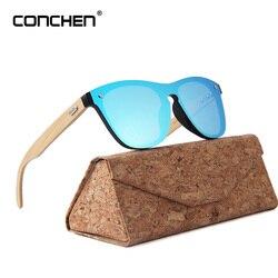 CONCHEN Wooden Sunglasses For Women Fashion Brand Designer UV400 Mirror Lenses Bamboo Sunglasses For Men 2018 New Arrival