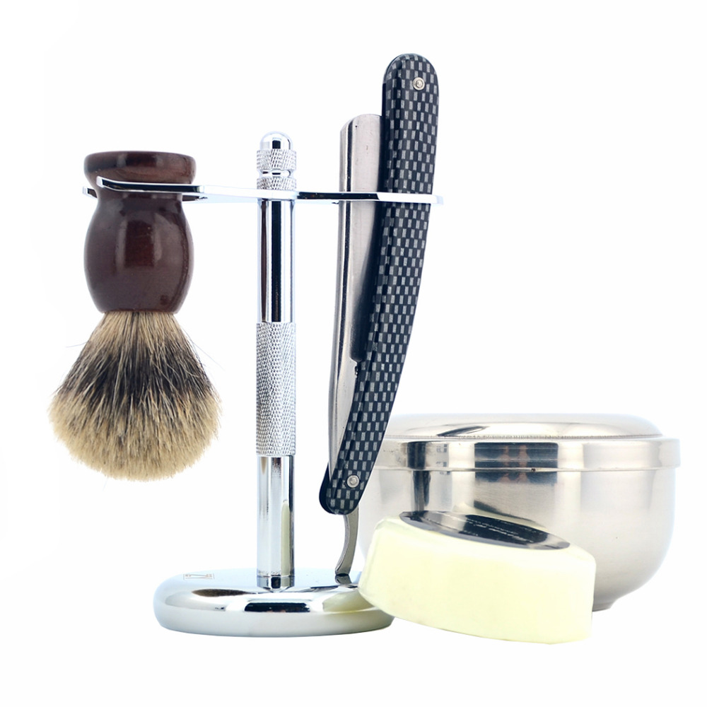 ZY 5pcs/set Man Shaving Set Straight Razor Shaving Razor Gold Dollar +Badger Shaving Brush+Stand+Barber Shave Soap Bowl zy 5pcs man safety razor double edge shaving kit long handle natural badger shaving brush stand holder shave soap bowl gift