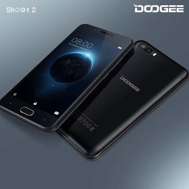 En Existencia DOOGEE Shoot 2 de Doble cámara de los teléfonos móviles 5.0 Pulgadas IPS 1 GB/2 GB RAM Android 7.0 Dual SIM MTK6580A Quad Core 3360 mAH WCDMA