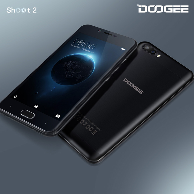 In Stock DOOGEE Shoot 2 Dual camera mobile phones 5.0Inch IPS 1GB RAM+8GB ROM Android 7.0 Dual SIM MTK6580A Quad Core 3360mAH