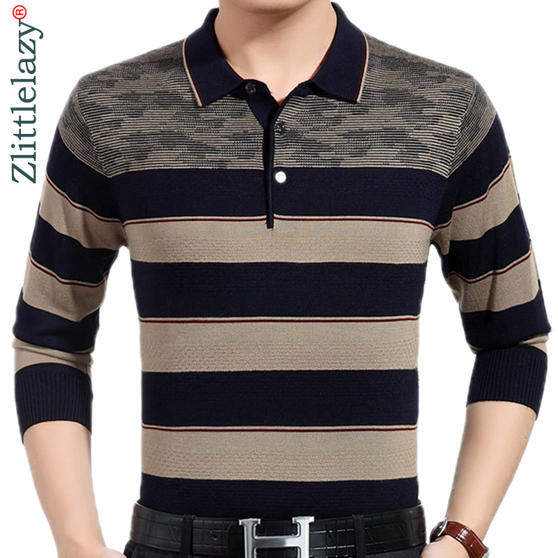 2019 new designer brand long sleeve slim fit polo shirt men casual jersey thick striped mens polos winter warm tee shirt 41295