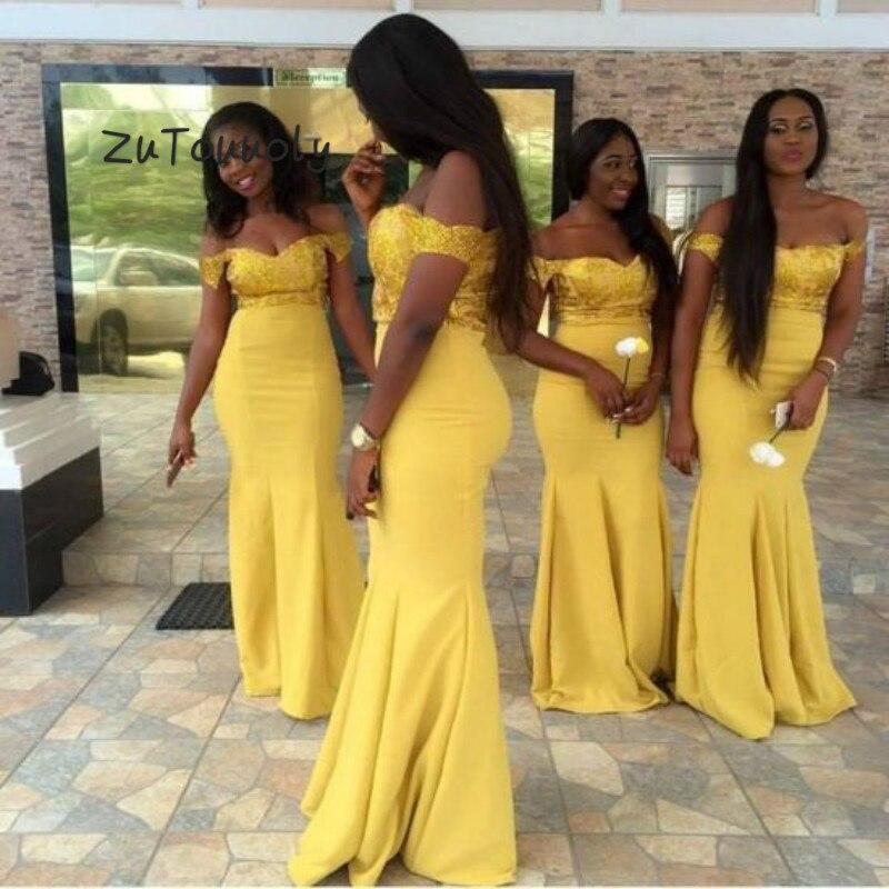 African Yellow Mermaid   Bridesmaid     Dresses   Beach Plus Size Top Sequin Maid Of Honor   Dress   Zipper Back wedding guest   dress   2019