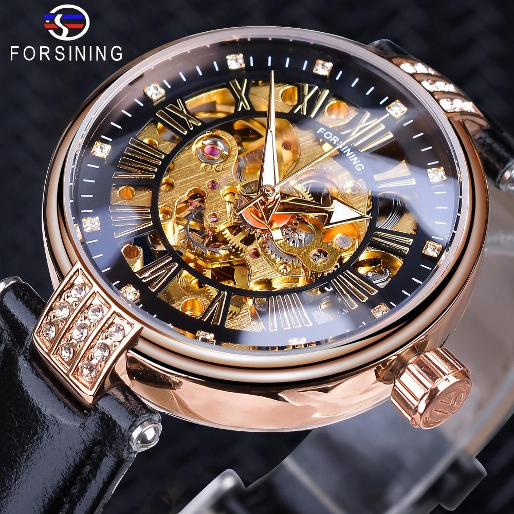 Forsining Fashion Women Diamond Skeleton Display Design Waterproof Luxury Lady Automatic Watches Luminous Hands Genuine Leather