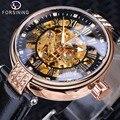 Forsining Mode Frauen Diamant Skeleton Display Design Wasserdicht Luxus Dame Automatische Uhren Leucht Hände Echtes Leder|Damenuhren|   -
