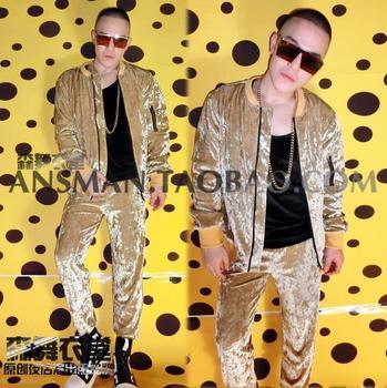Nightclub Male Singer DJ dancer costumes Champagne Gold Diamond Velvet flash hip-hop baseball uniforms stage wear jacket