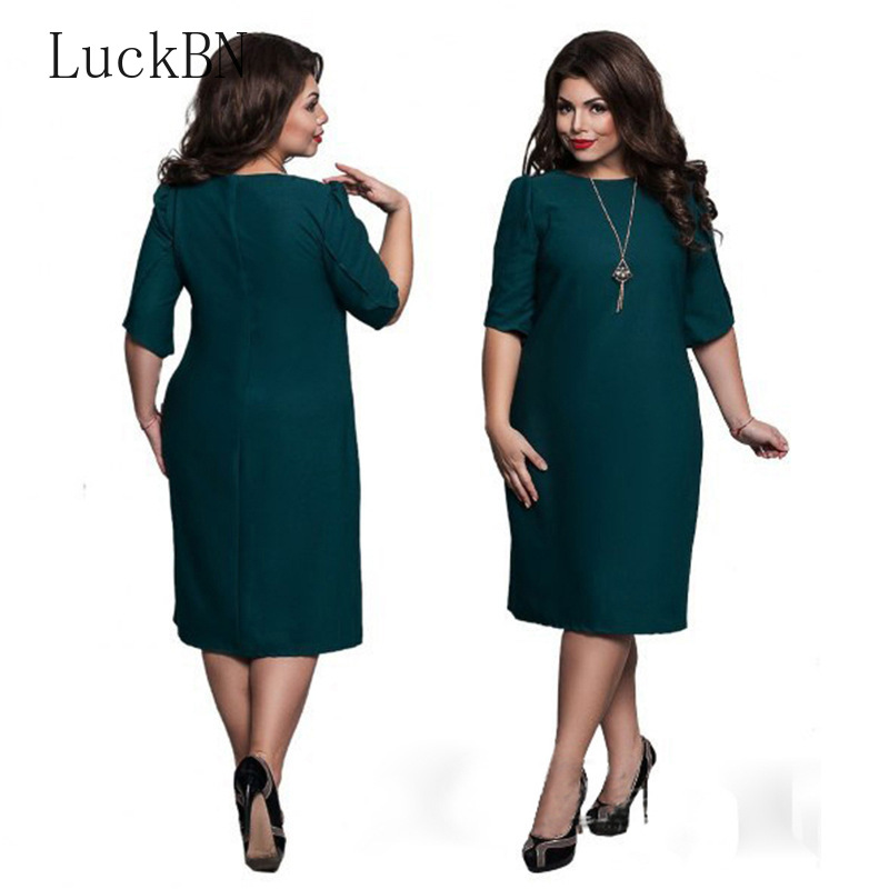 6XL Large Size 2019 Spring Summer Dress Big Size Printed Dress Blue Red Green Straight Dresses Plus Size Women Clothing Vestidos