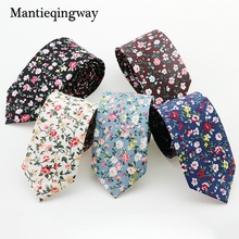 Mantieqingway Men Floral Dots Tie Cotton Narrow and Skinny Casual Ties for Men Wedding Party Flower Skinny Ties for Men Women(China)