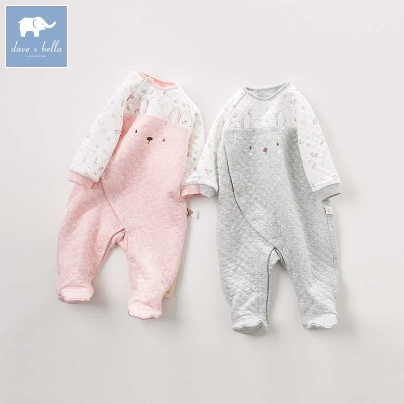 DBZ8200 dave bella autumn new born baby print long sleeve romper infant toddler jumpsuit children boutique romper 1 piece
