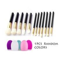 NEW 12pcs Goat Hair Makeup Brushes + 1pcs Brush Egg Professional Cosmetic Make Up Brushes Set Foundation Powder Pincel Maquiagem