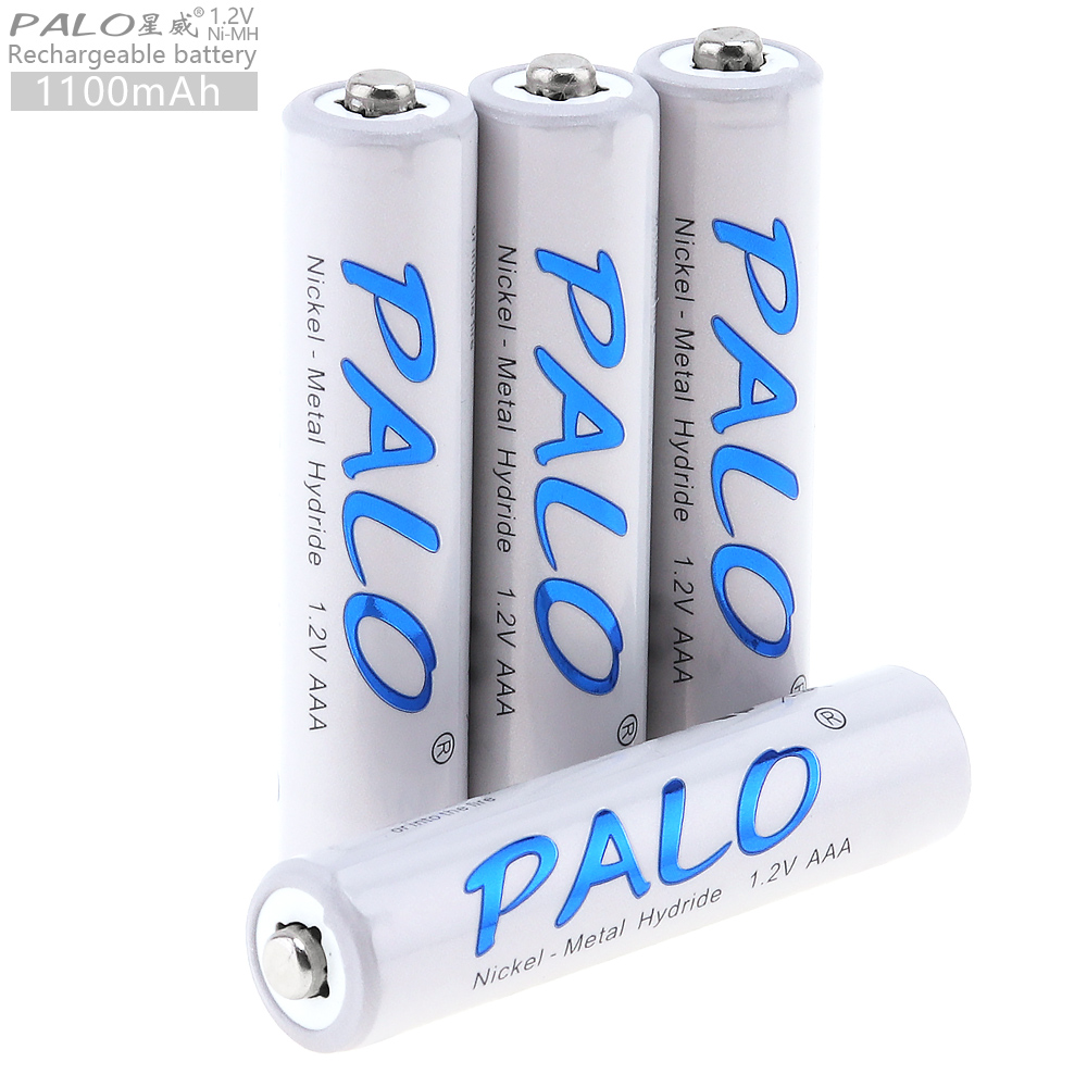PALO 4pcs 1.2V AAA 1100mAh Ni-MH Rechargeable Battery with Safety Relief Valve for Wireless Mouse Toy Camera