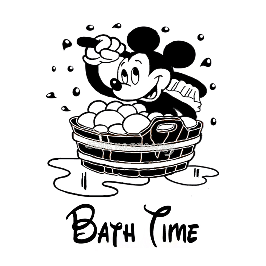 Mickey Mouse Bath Time Wall Sticker Vinyl Removable Wall