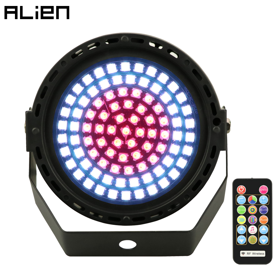 ALIEN 91 LED RGB Disco Colorful Strobe Stage Lighting Effect DJ Bar Holiday Party Christmas DMX Sound Lights With Remote Control