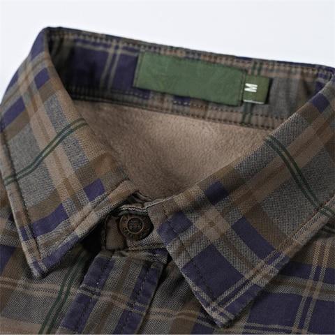 Brand Casual Fleece Shirts Men Winter Fashion Flannel Thick Warm Plaid Shirts Cotton Long Sleeve Business Shirts Chemise Homme Multan