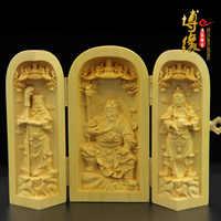 Indien stil Exquisite holz schnitzereien Trinity Westlichen Göttin Buddha Ornament Buchsbaum Carving Guanyin statuen vintage hause dekore