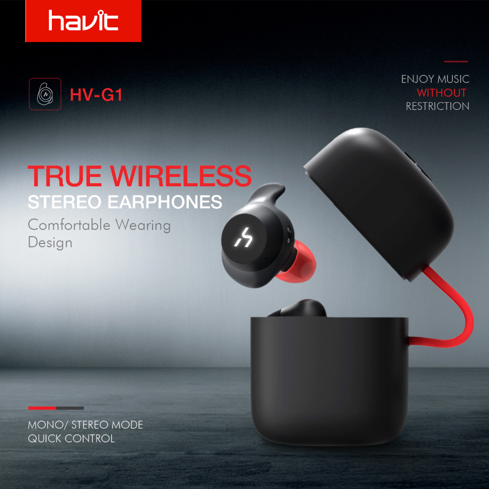 HAVIT TWS Bluetooth Écouteurs Vrai Sans Fil Sport Écouteur Étanche Stéréo Écouteurs Avec Microphone pour Mains Libres Appels G1