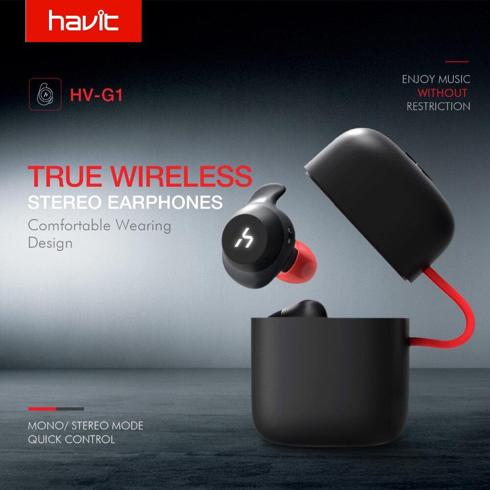 HAVIT TWS Verdadeiro Esporte Sem Fio Bluetooth Fone de Ouvido Fone de Ouvido À Prova D' Água Fones de Ouvido Estéreo Com Microfone para Chamadas em Mãos Livres G1