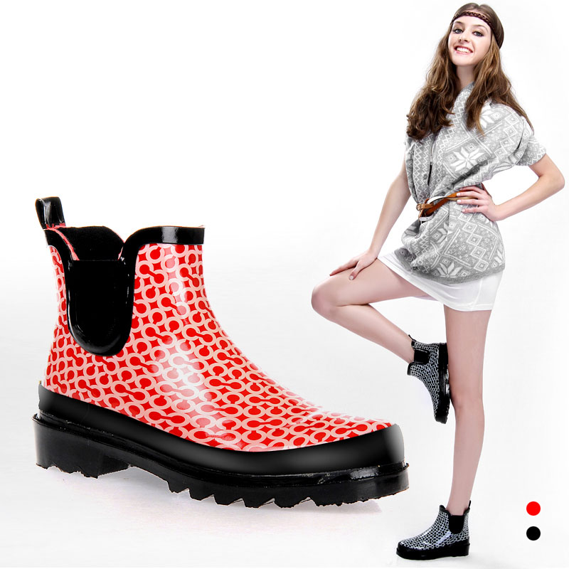 womens chelsea rain boots fashion print ankle rubber rain boots waterproof wear antiskid rain gear for women clouds without rain