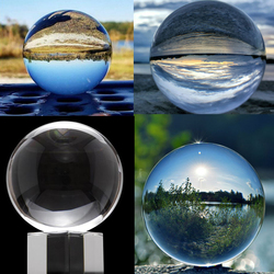 Crystal Clear Lens Ball Crystal Sphere Ball 50mm 80mm with Stand 2