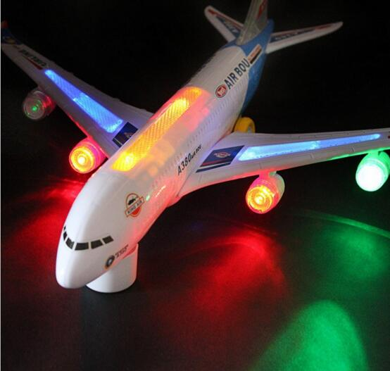 Electric Airplane A380 Airbus With Light Musci Airplane