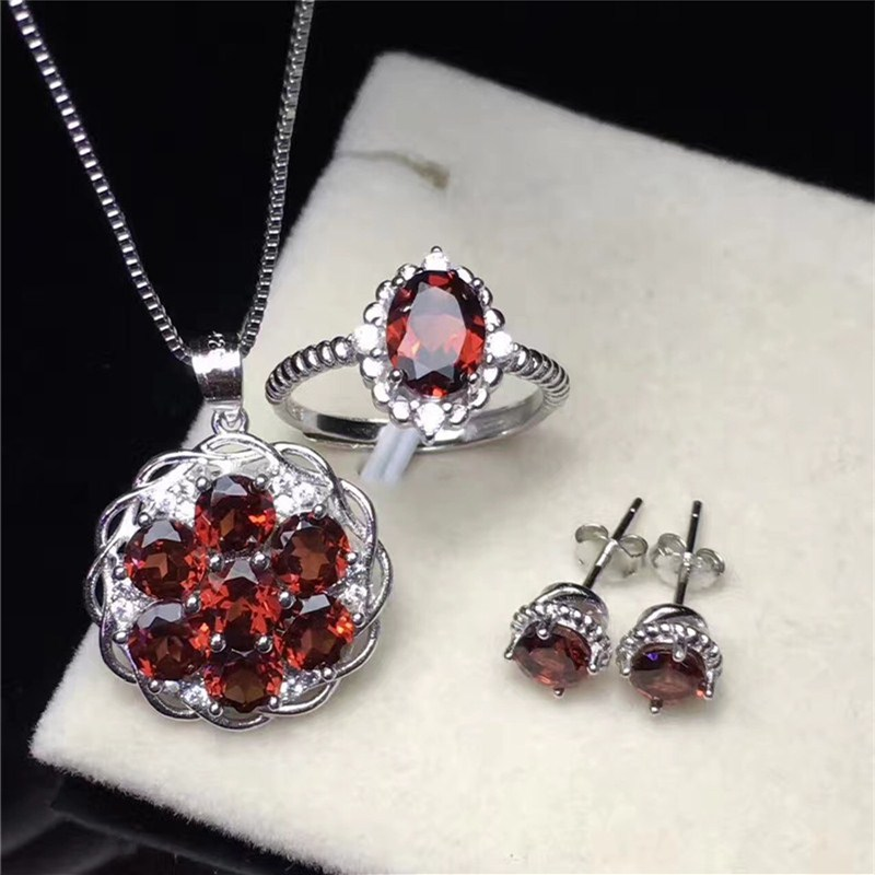 Fine Jewelry Sets For Women 100% Silver Ring Necklaces Pendants Stud Earrings Garnet Natural Gemstone Luxury Accessory CCS001-1