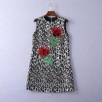 Прямая поставка женский платья с круглым вырезом Платье трапециевидной формы жаккардовые Leopard платье на бретелях блестками Роуз аппликаци