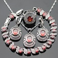 Handmade Silver Color Jewelry Sets Red Created Garnet White CZ Necklace Pendant Bracelets Earrings Rings For Women Free Gift Box
