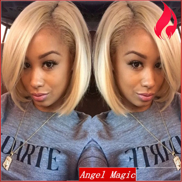 Top 7a Blonde Short Human Hair Lace Front Wigs For Black Women