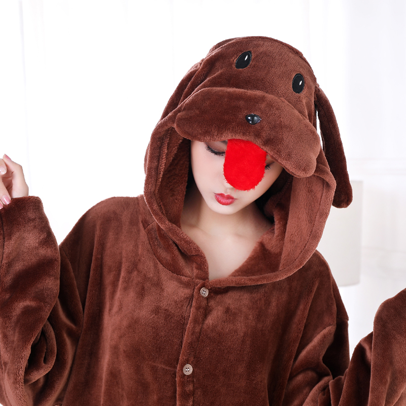 New Brown Teddy Dog Kigurumi Thick Flannel Animal One-Piece Pajamas For Onesie For Adults Cosplay Party Costume Pyjamas Suit (4)