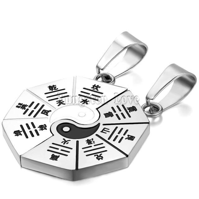 Correspondência de Yin Yang BAGUA Oito Trigramas Aço Inoxidável Sorte Pingente Encanto Colares para Casais Jóias 2 peças