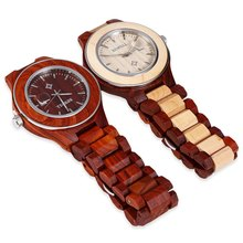 BEWELL Men Quartz Watch, Luminous Pointer Date Wooden Wristwatch, Male Fashion Wood Watch, Water Resistant Casual Watch