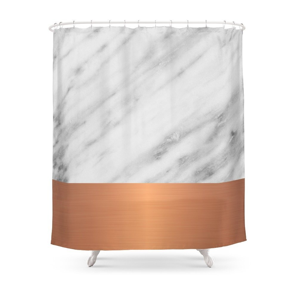 Carrara Italian Marble Holiday Rose Gold Edition Shower Curtain Customized Size In Curtains From Home Garden On Aliexpress