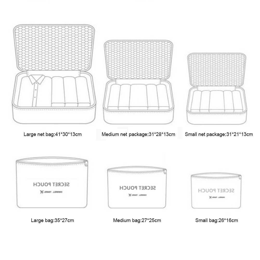IVYSHION 6 adet/takım su geçirmez naylon seyahat saklama çantası bagaj organizatör büyük kapasiteli seyahat giysi iç çamaşırı ayakkabı sıralama