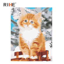 RIHE Meek Cat Diy Painting By Numbers Animal Oil On Canvas Hand Painted Cuadros Decoracion Acrylic Paint Home Decor