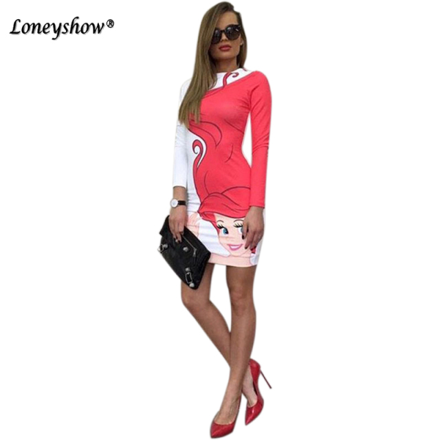 Loneyshow Cute Printing Long Sleeve Dresses Cartoon Snow White Print Bodycon Dress Summer Fashion Women Mini Dress Vestidos