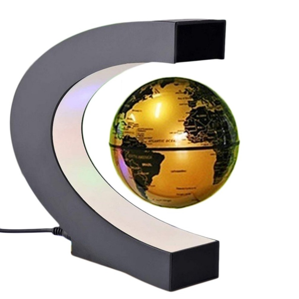 US plug gold Magnetic Globe Levitation Floating LED Floating Tellurion C Shape Anti Gravity Globe World Map for office Home magnetic levitation floating world map us eu plug c shape led globe map of the world christmas decorations home decor tellurion