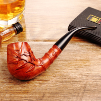 2018 New High grade ADOUS Chinese style hand carved bamboo reported safety heather Tobacco pipe Smoking pipes 9MM