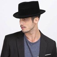 Autumn Winter Men Wool Fedora Hat British Style Black Classic Church Bowler Cap Wide Brim Hat