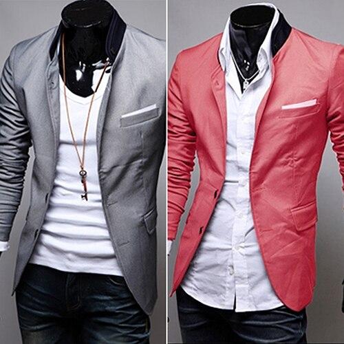 Los hombres de Moda de Primavera Otoño Caliente Suave Casual Cuello alto Chaqueta del Traje de Negocios