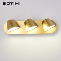 BOTIMI LED Wall Lamp Adjustable Metal White Mirror Light Living Room Wall Sconce Wall Deco Lighting Modern Black Wall Lamps