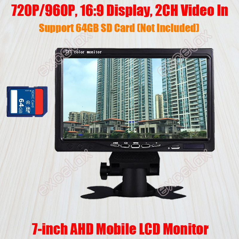 SD Card Recording Storage 7 720P 960P 1 3MP AHD Mobile Monitor 7 Inch LCD Vehicle