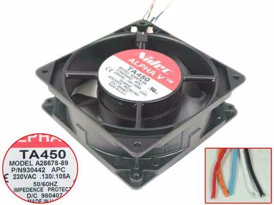 Nidec A28678-89 AC 230V 0.13A/0.105A 120x120x38mm 5-wire Server Cooler FanNidec A28678-89 AC 230V 0.13A/0.105A 120x120x38mm 5-wire Server Cooler Fan