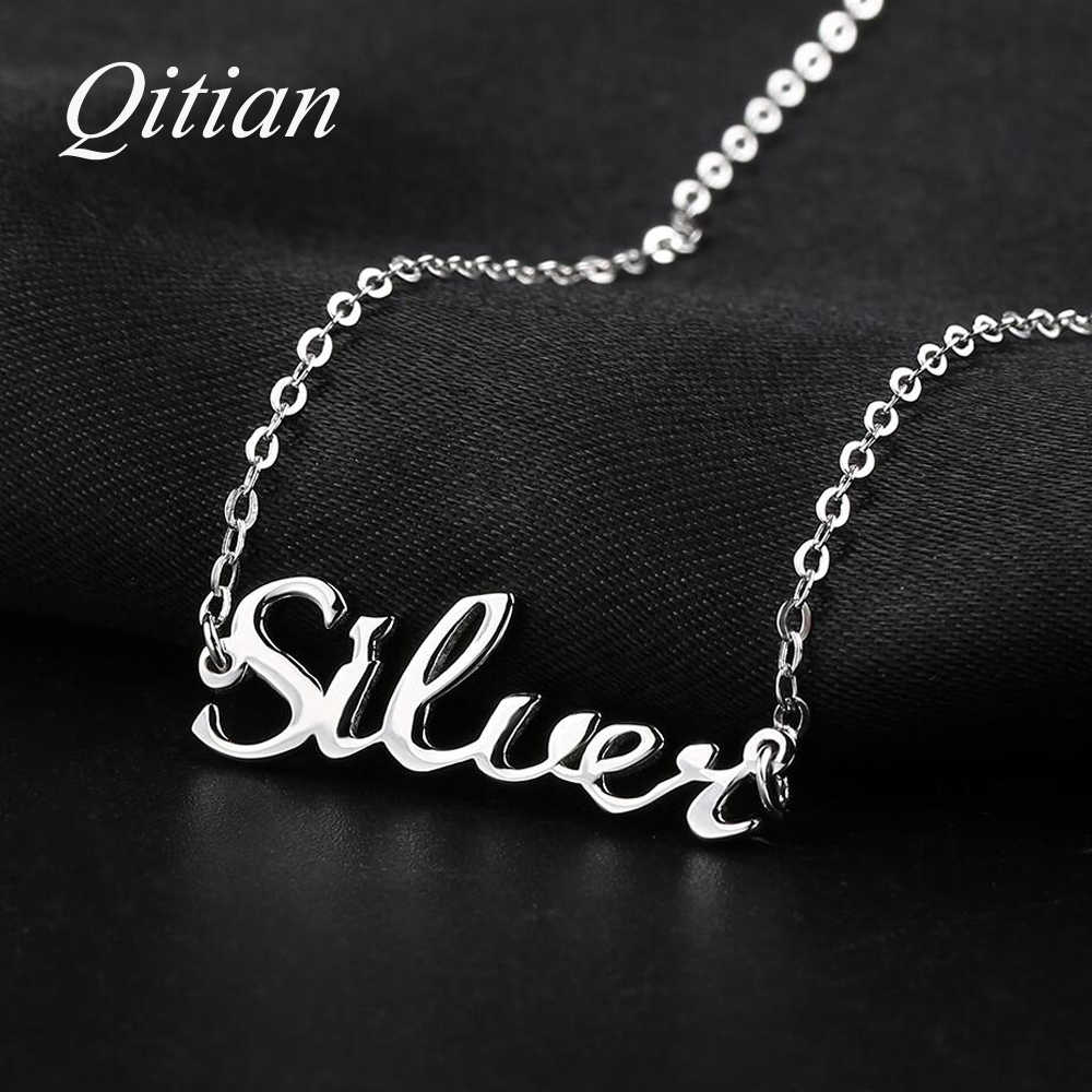 925 Sterling Silver Name Necklace    Custom Old English Arabic Necklaces For Women DIY Personalized Jewelry Etsy Dropshipping