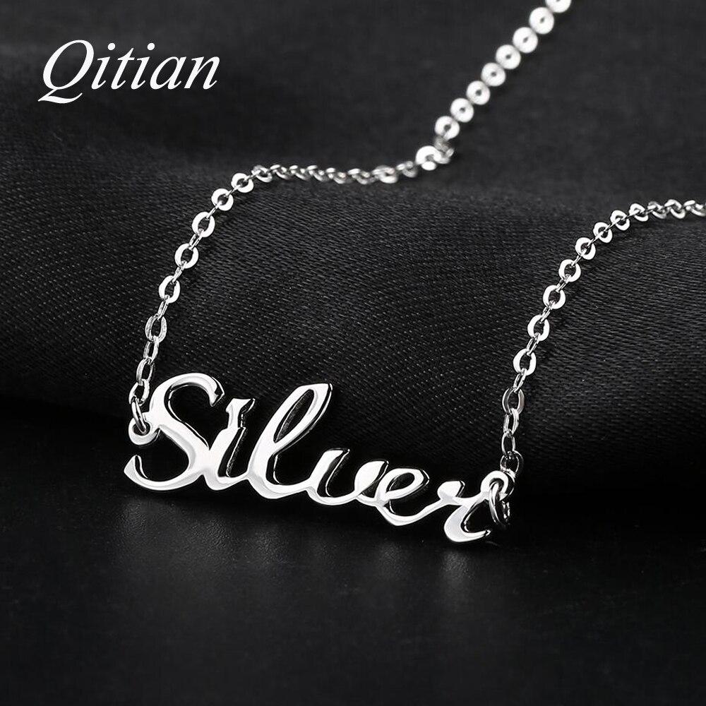 Anhänger 925 Sterling Silber Name Halskette Benutzerdefinierte Alte Englisch Arabisch Halsketten Für Frauen DIY Personalisierte Schmuck Dropshipping