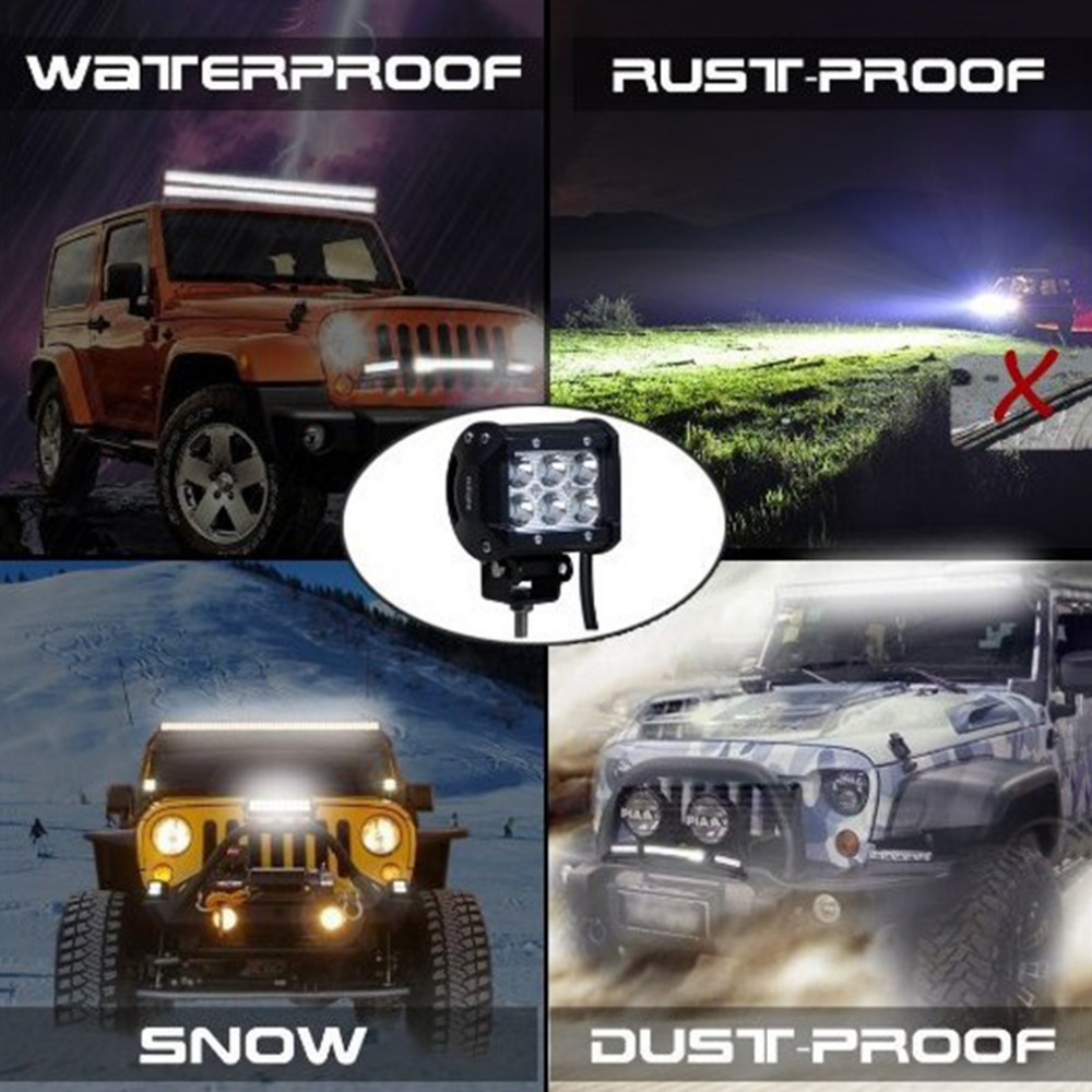 4 PCS 18W Car Super Brightness Anti-Aging LED Flood Work Light Vehicle Off-Road Truck Waterproof Daytime Working Light Lamp brand new universal 40 w 6 inch 12 v led car work light daytime running lights combo light off road 4 x 4 truck light