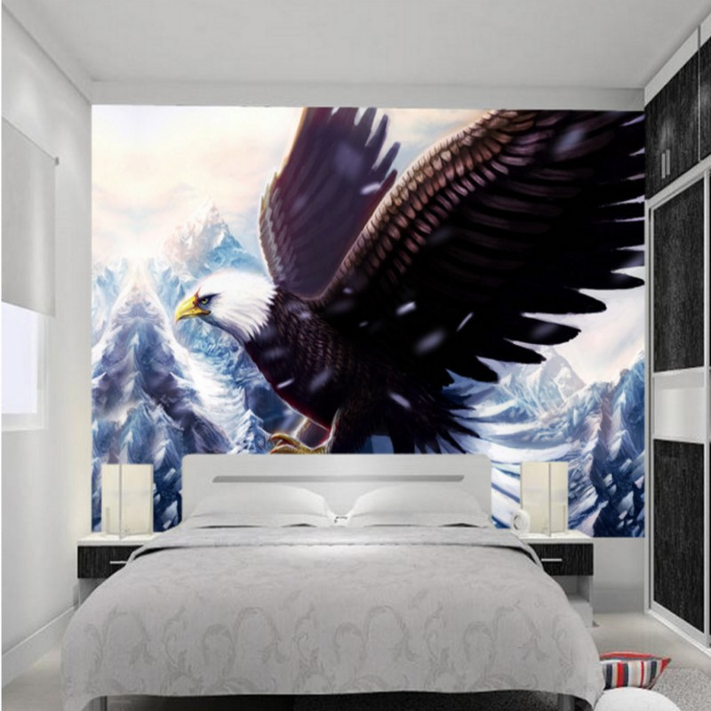 Custom 3d wallpaper  Majestic Snow Mountain Eagle 3d wall murals wallpaper Hotel lobby bedroom backdrop decorative custom baby wallpaper snow white and the seven dwarfs bedroom for the children s room mural backdrop stereoscopic 3d