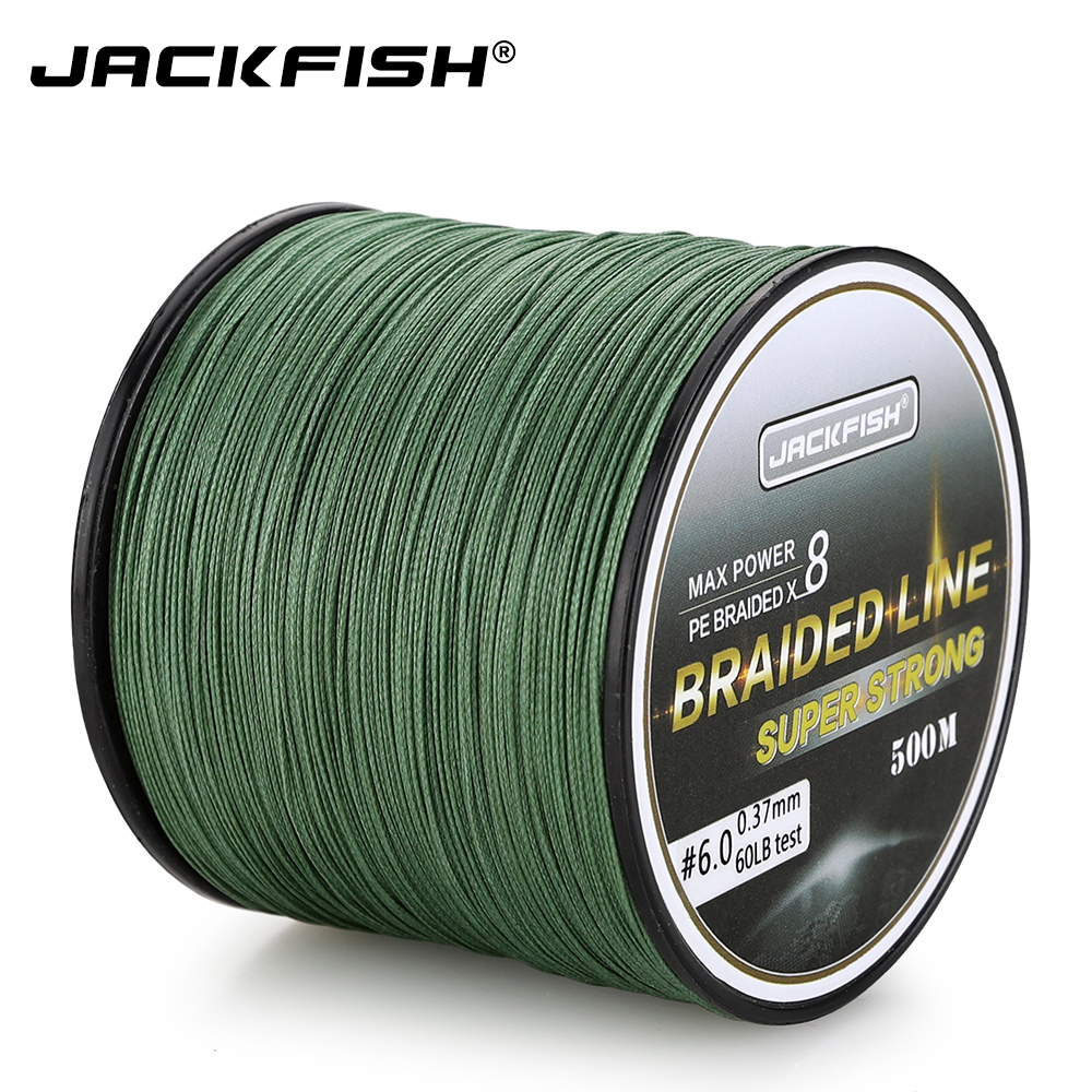 JACKFISH 500M 8 strand Smoother PE Braided Fishing Line 10-80LB Multifilament Fishing Line Carp Fishing Saltwater with საჩუქარი