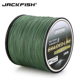 Jackfish 500 m 8 strand mais suave pe trançado linha de pesca 10-80lb multifilament pesca carpa pesca de água salgada com presente